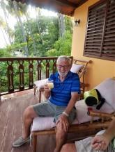 First mate Joe on the Balcony in Jacmel