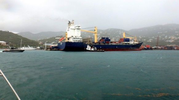 JN-23 Leaving St Thomas-Crown Bay Marina in the drizzle