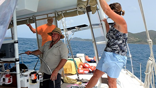 JN-26 Crew putting out the mainsail