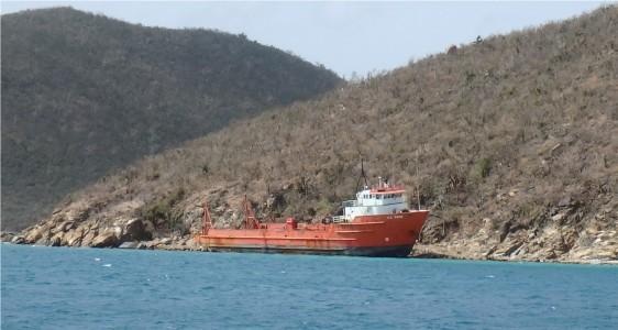 JN-30 Ship blown ashore by hurricane in Leverick Bay, Virgin Gorda